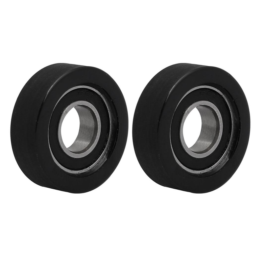 8mmx22mmx7mm PU68822-7 Roller Bearing Pulley Sliding Converyor Wheel Black 2pcs