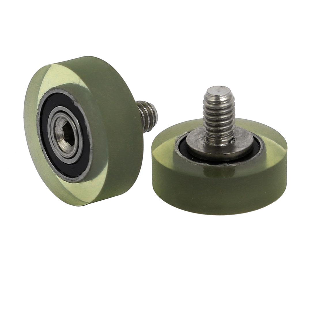 2pcs M4 x 6mm Thread F Type Idler Bearing Pulley 5mm x 16mm x 5mm