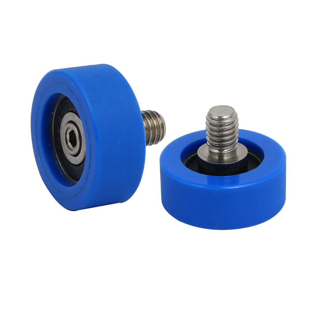 2pcs M6 x 8mm Thread F Type Idler Bearing Pulley Blue 5mm x 22mm x 9mm
