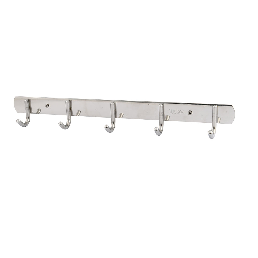 Hotel Home Stainless Steel Wall Mounted 5 Hooks Hat Clothes Rack Silver Tone