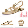 Women Cross Strap Metallic Toe Loop Flat Sandals Gold US 8