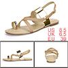 Women Cross Strap Metallic Toe Loop Flat Sandals Gold US 8.5