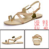 Women Cross Strap Metallic Toe Loop Flat Sandals Gold US 9.5