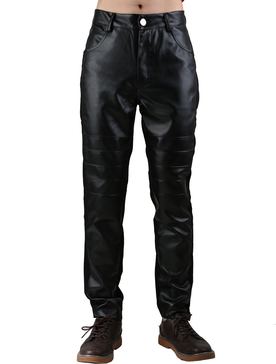 Men Five Pockets Pleated Imitation Leather Panel Casual Pants Black XS