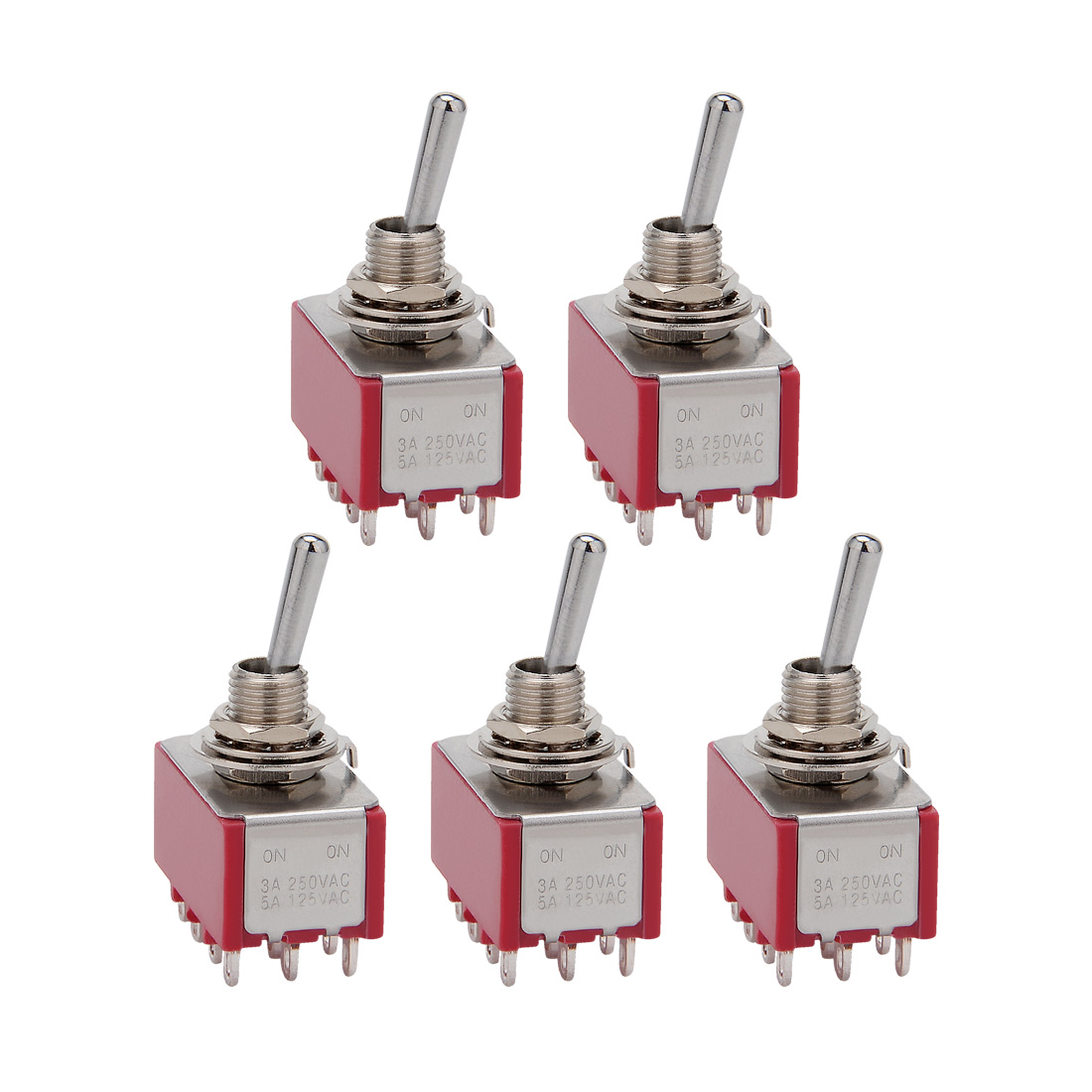 5Pcs AC 125V/5A 250V/3A ON/ON 2 Positions 12 Terminals 4PDT Toggle Switch