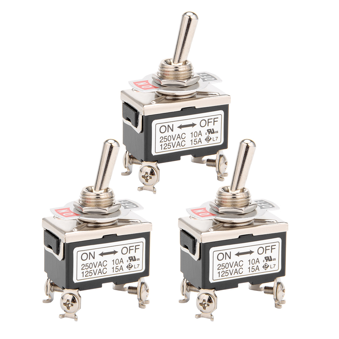 3Pcs AC 125V/15A 250V/10A ON-OFF 2P 4 Terminals Latching DPST Toggle Switch