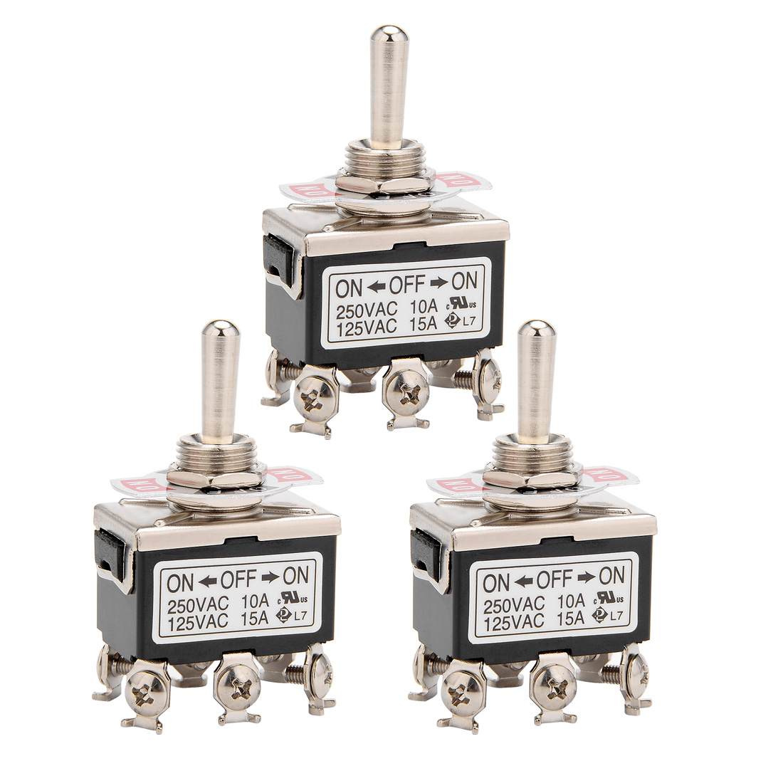3Pcs AC 125V/15A 250V/10A ON-OFF-ON 3P 6 Terminals Latching DPDT Toggle Switch