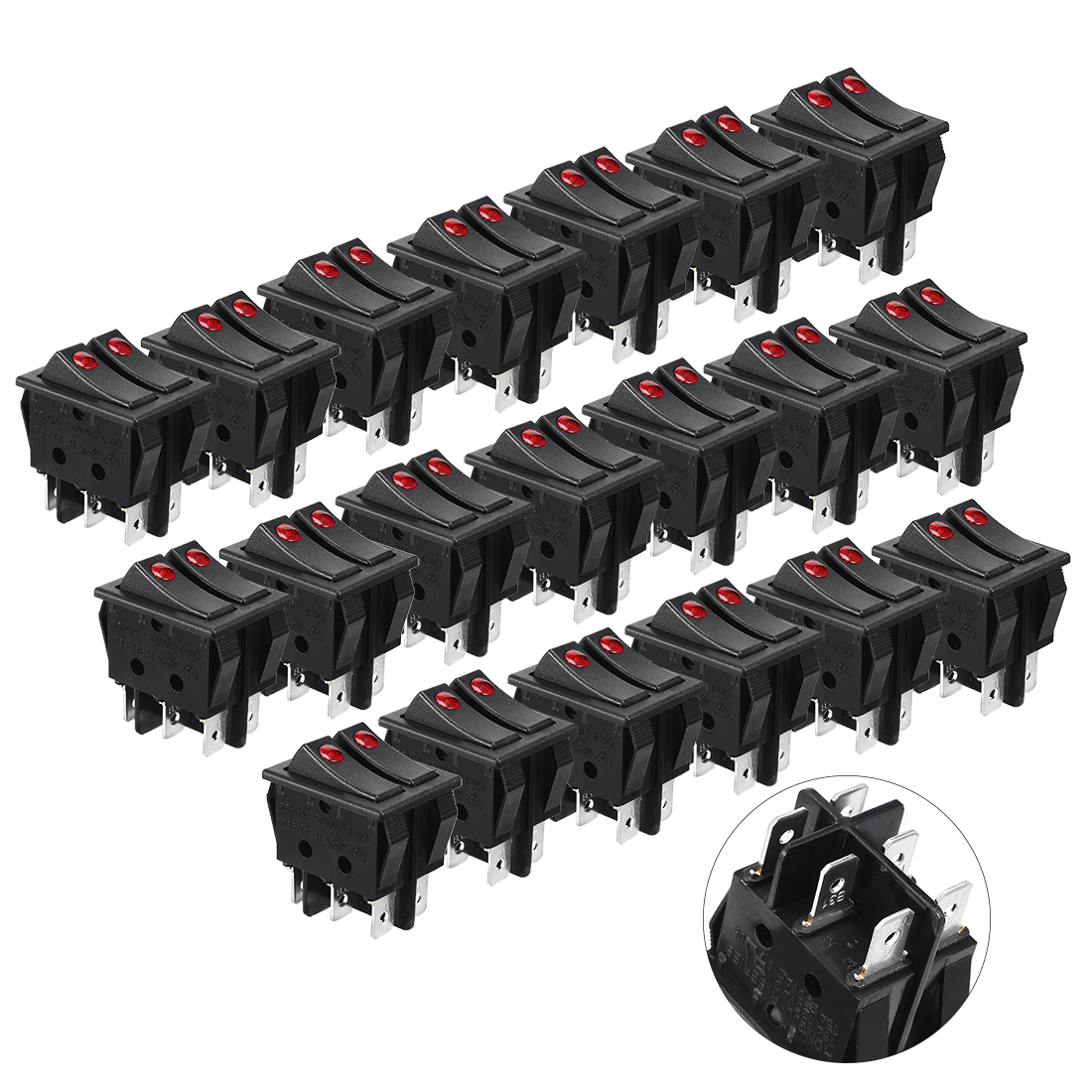 6 Pins Double On/Off Illuminated SPST Rocker Switch 16A 250VAC 20 Pcs
