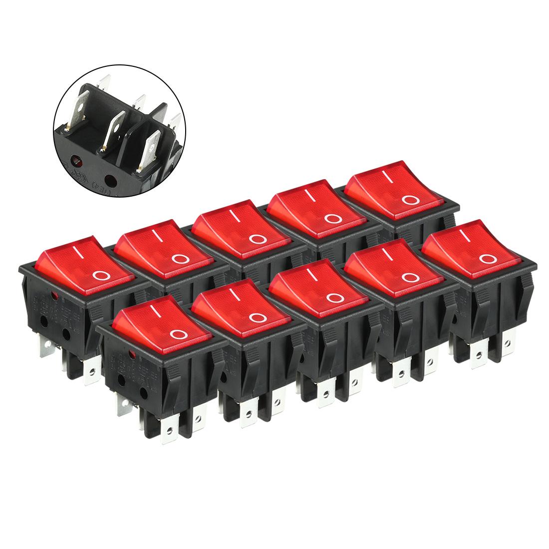 10pcs AC 250V/125V 16A On/Off DPDT Rocker Switch Latching Red Light