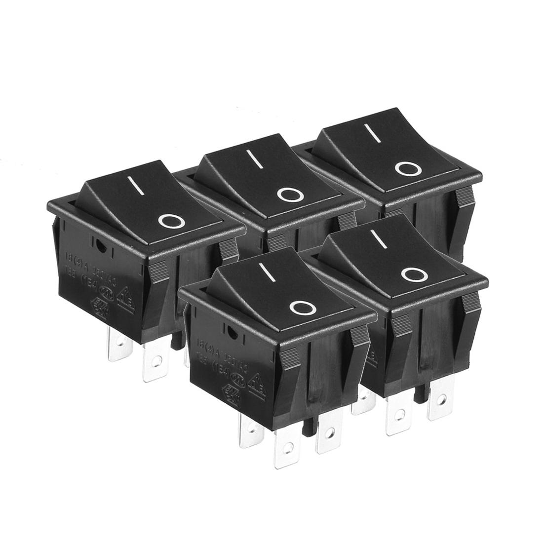 5pcs AC 250V/125V 16A On/Off 2 Position DPST Rocker Switch Latching