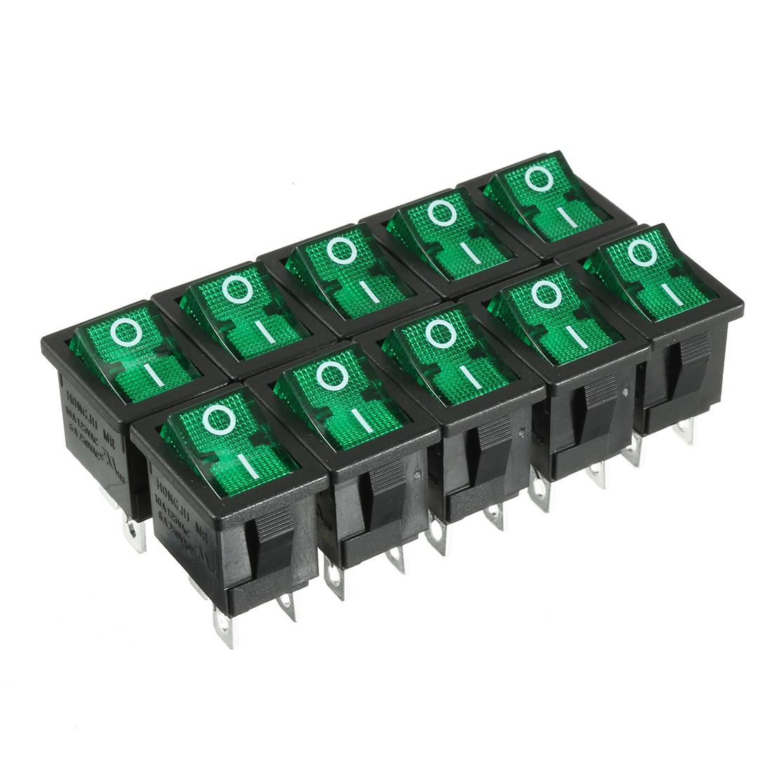 10pcs AC 250V/6A 125V/10A DPST Rocker Switch Latching Green Button