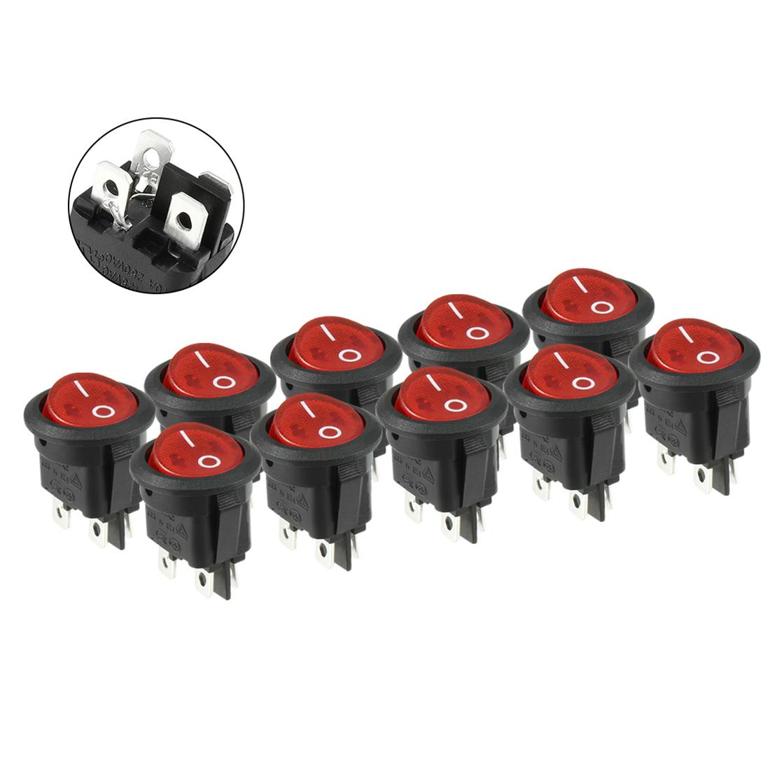 10pcs AC 6A/250V 10A/125V DPST Rocker Switch Red Light Illuminated