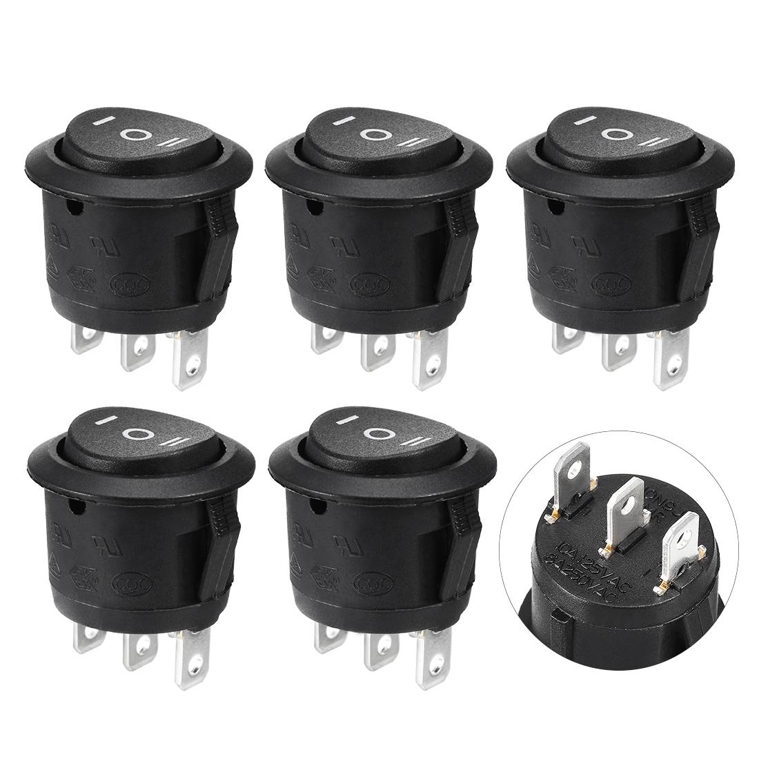 5pcs SPDT Rocker Power Switch 6A 250VAC 10A 125VAC 3Pins 3 Position