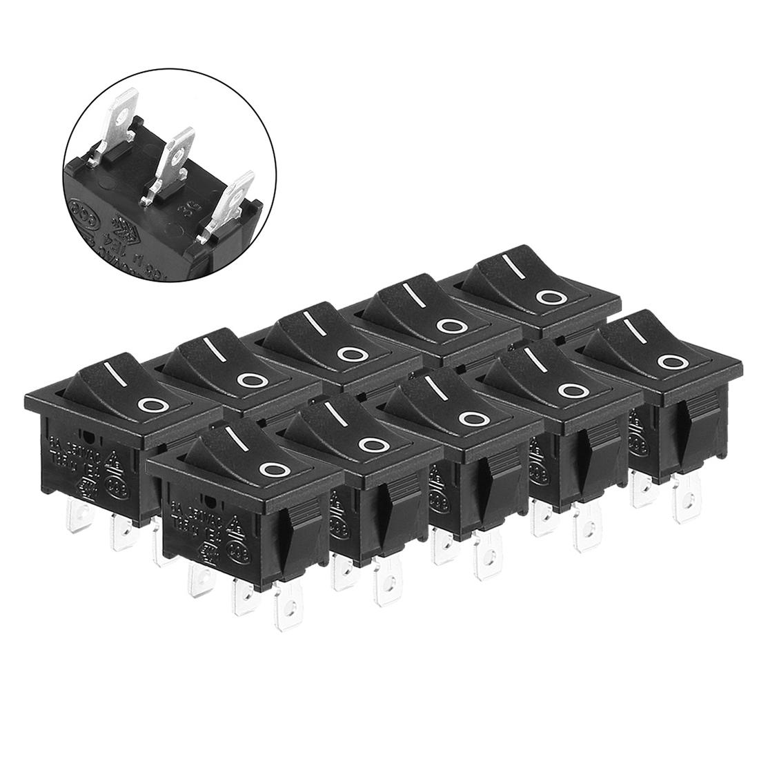 10pcs AC6A/250V 10A/125V On/Off 2 Position SPDT Rocker Switch Latching