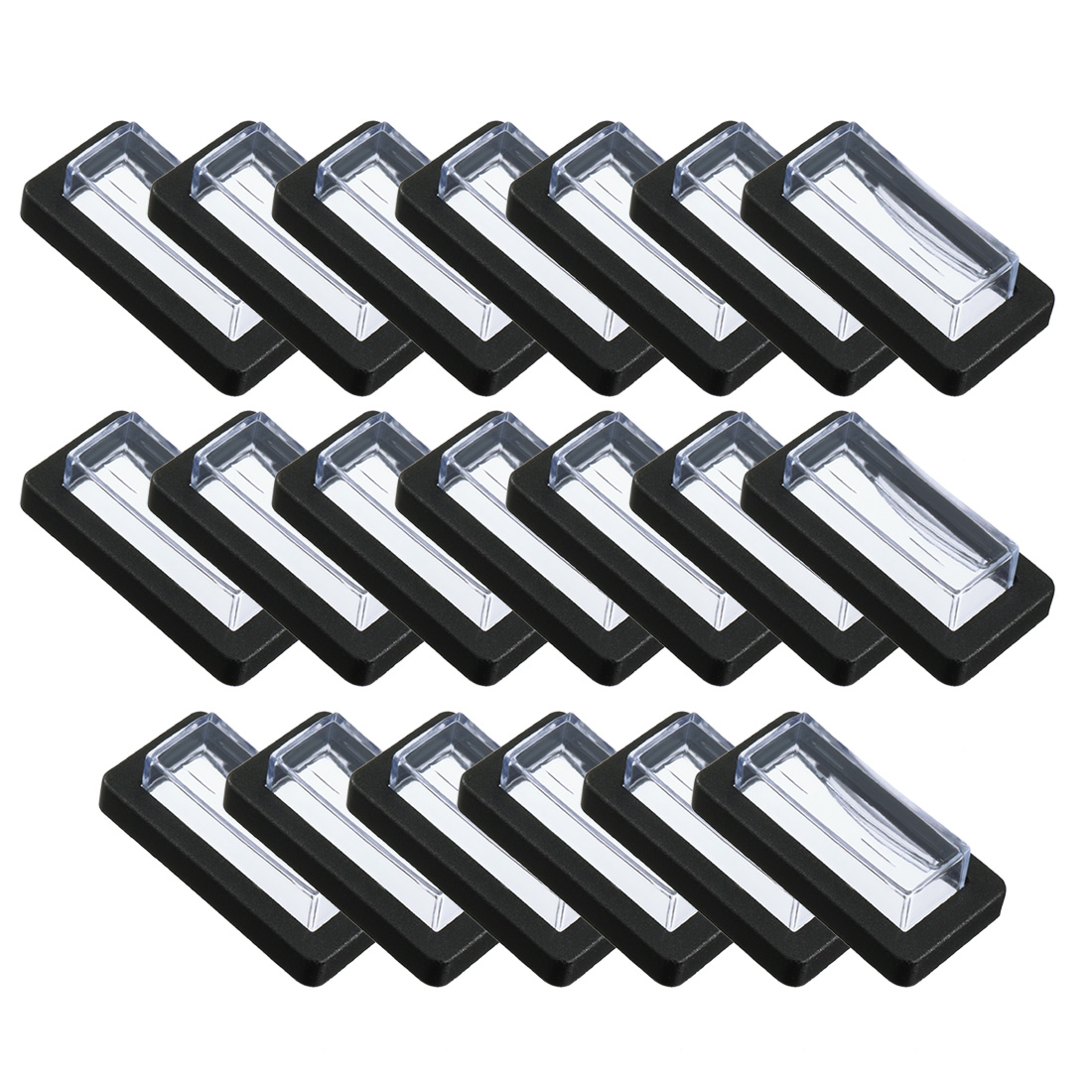 20 Pairs Clear Black Rectangle Splash Proof Switch Covers Caps Protectors