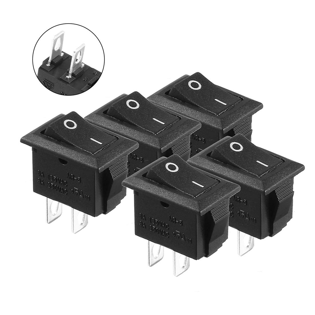 5pcs AC 3A/250V 6A/125V SPST Rocker Switch ON/OFF 2 Positions