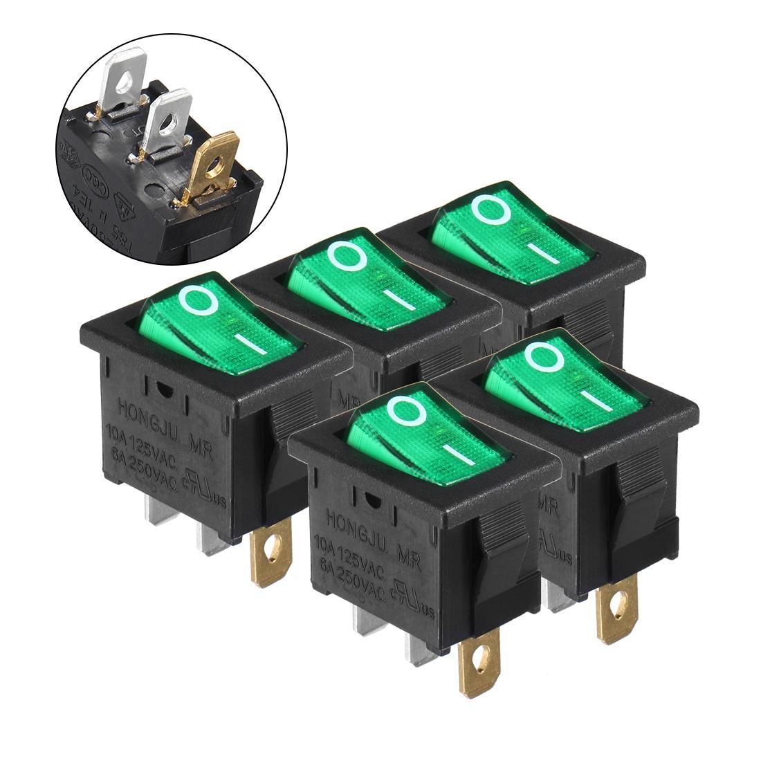 5Pcs AC 250V/6A 125V/10A ON/OFF 2P SPST Rocker Switch Latching
