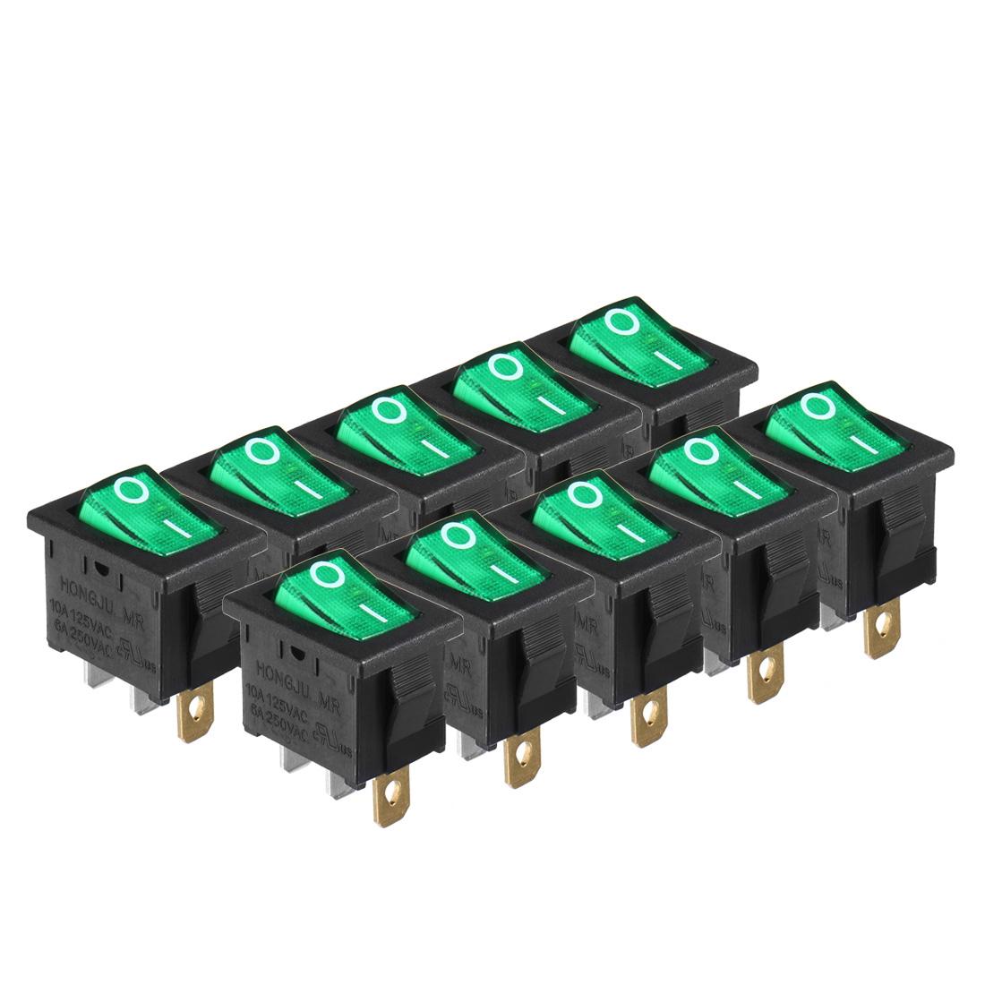 10Pcs AC 250V/6A 125V/10A ON/OFF 2P SPST Rocker Switch Latching