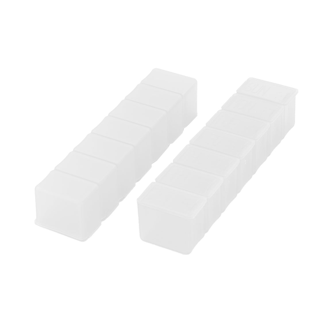 Home Rectangle 7 Slots Pill Storage Container Case Box Clear 2 Pcs