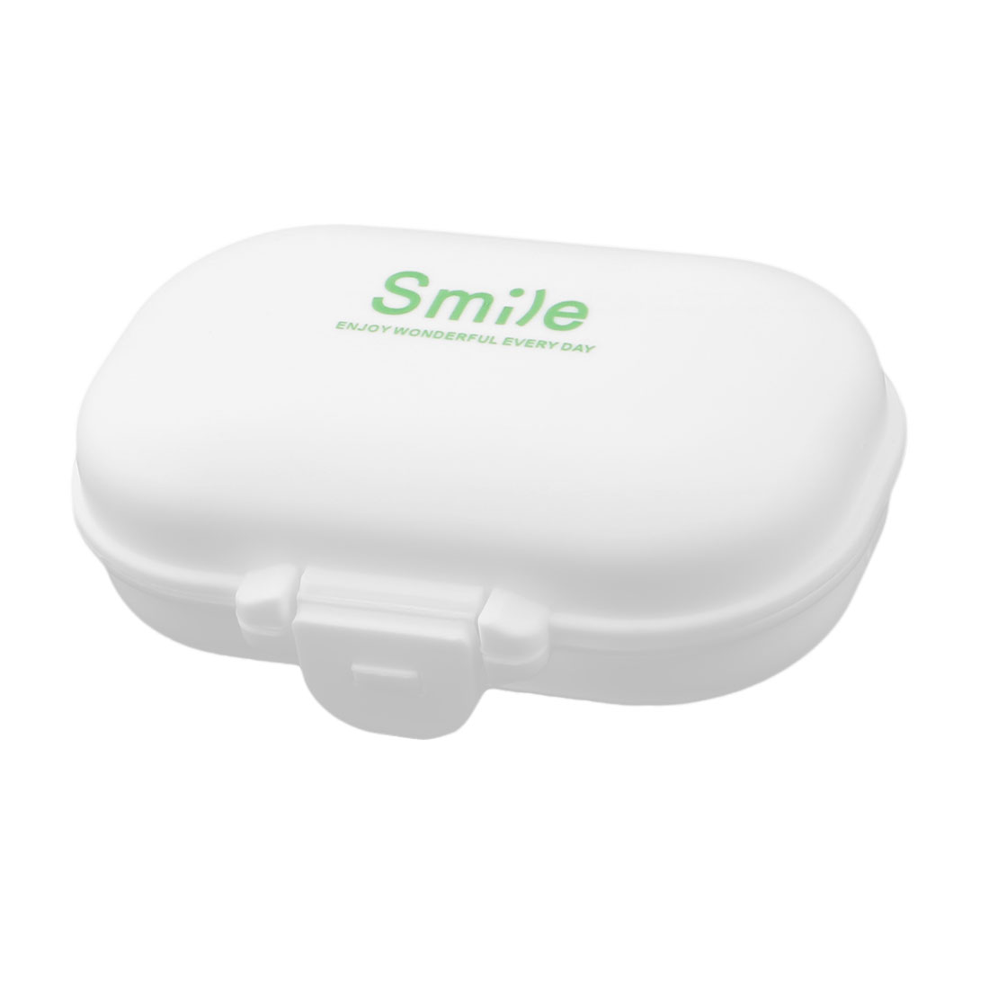 Household Plastic Letter Pattern 4 Compartments Capsule Pills Storage Box White