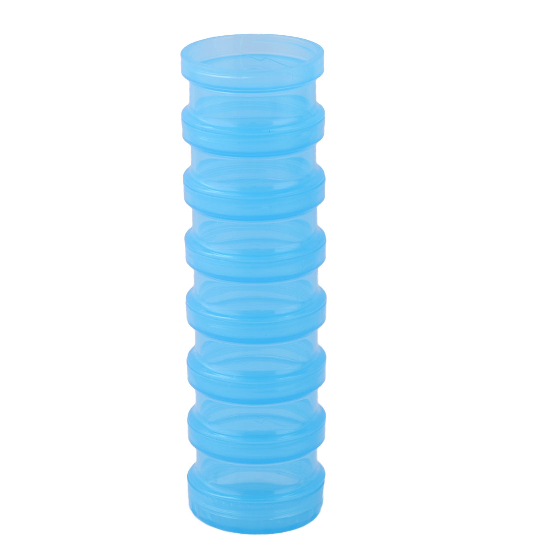 Traveling Plastic 7 Compartments Removable Earrings Pills Storage Box Case Blue