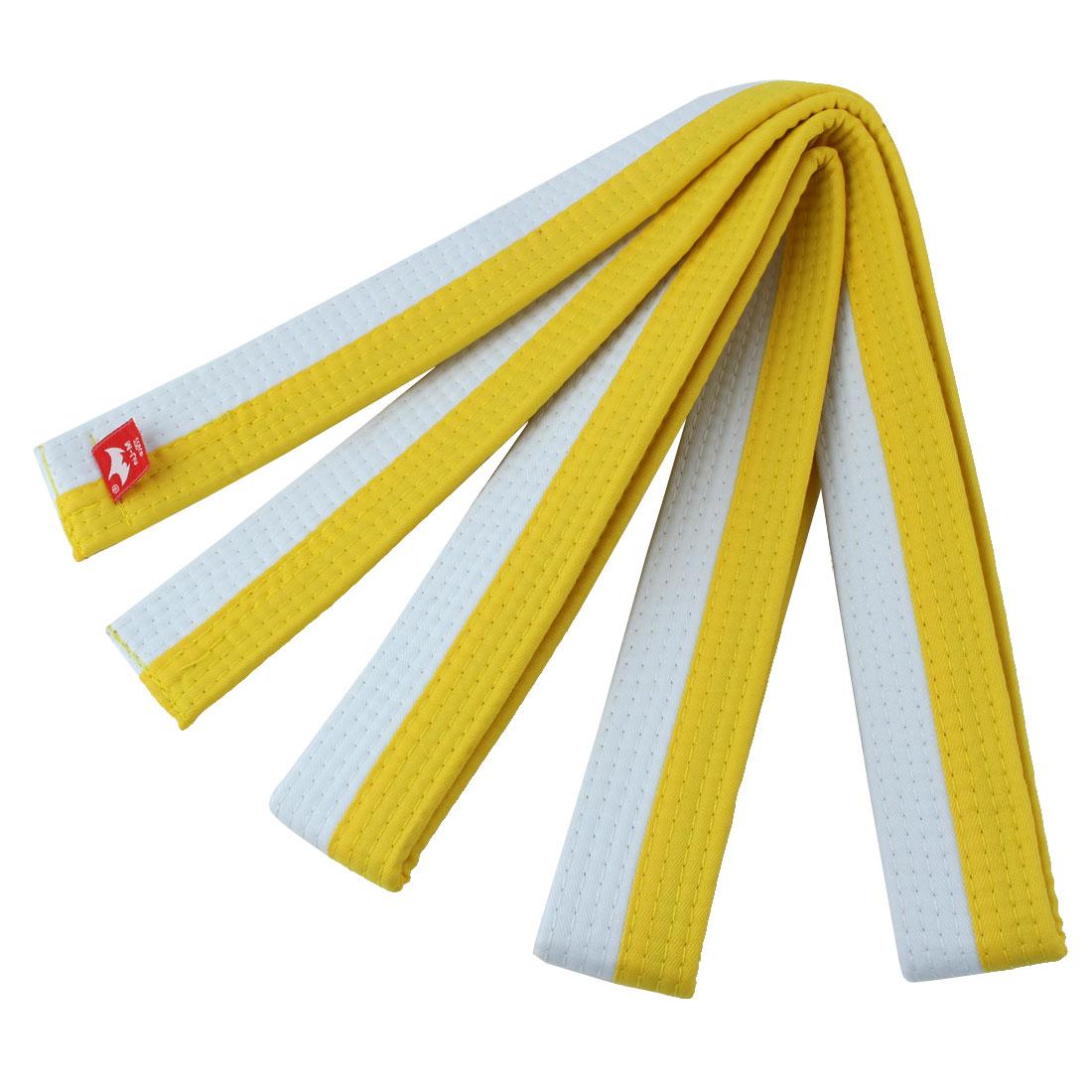Taekwondo Cotton Blend Uniform Belt White Yellow 220cm Length