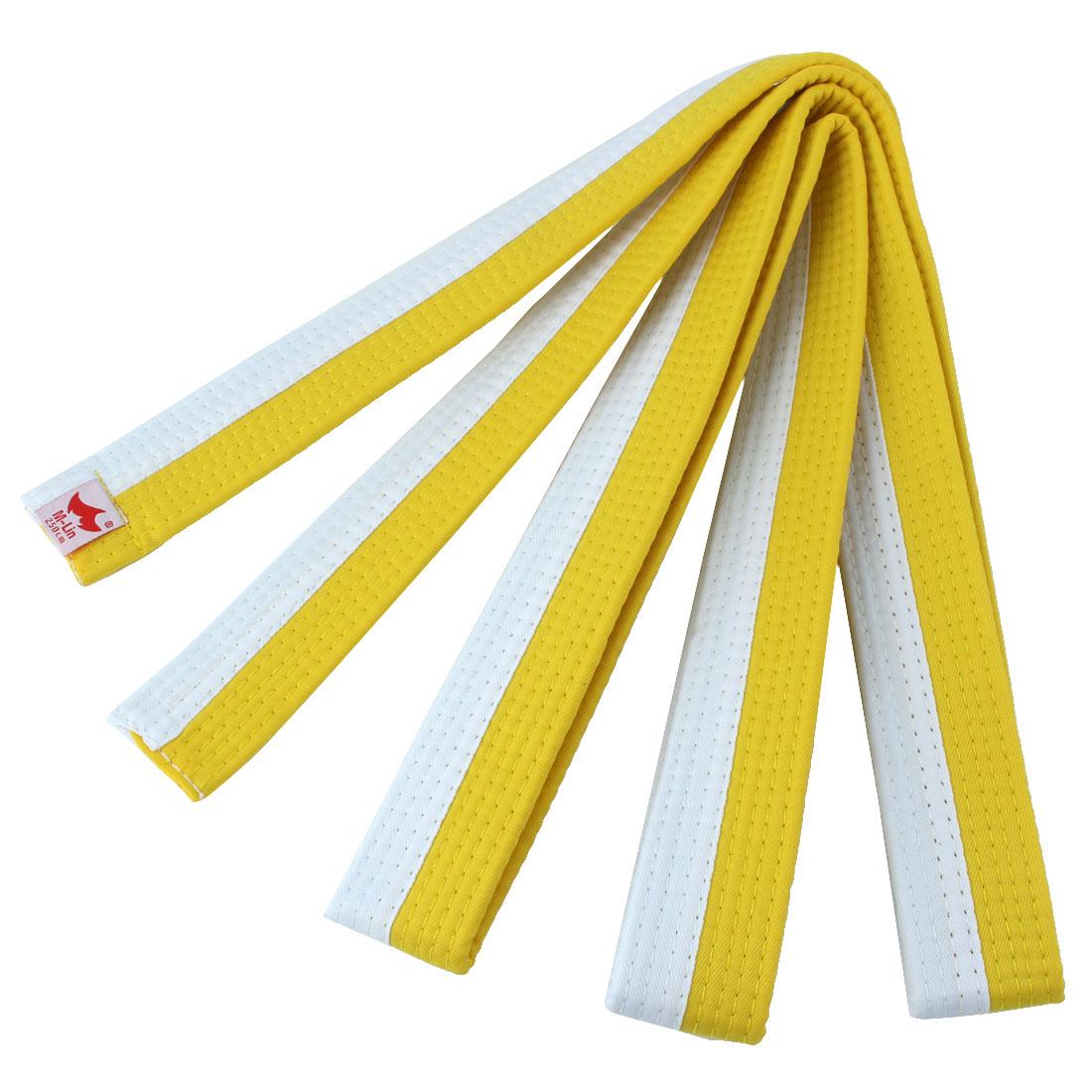Judo Taekwondo Cotton Blend Band Belt White Yellow 250cm Length