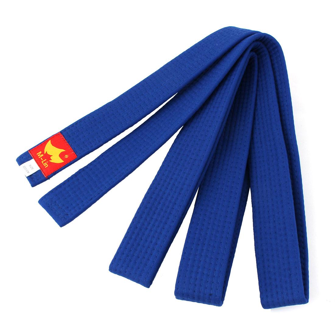 Taekwondo Cotton Blend Sporty Band Belt Blue 220cm Length
