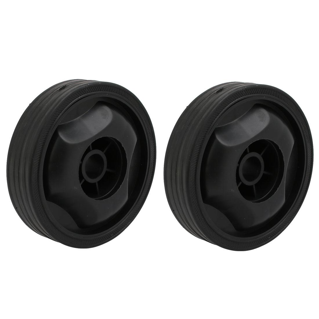 115mmx16.5mm Plastic Air Compressor Replacement Parts Wheel Casters Black 2pcs