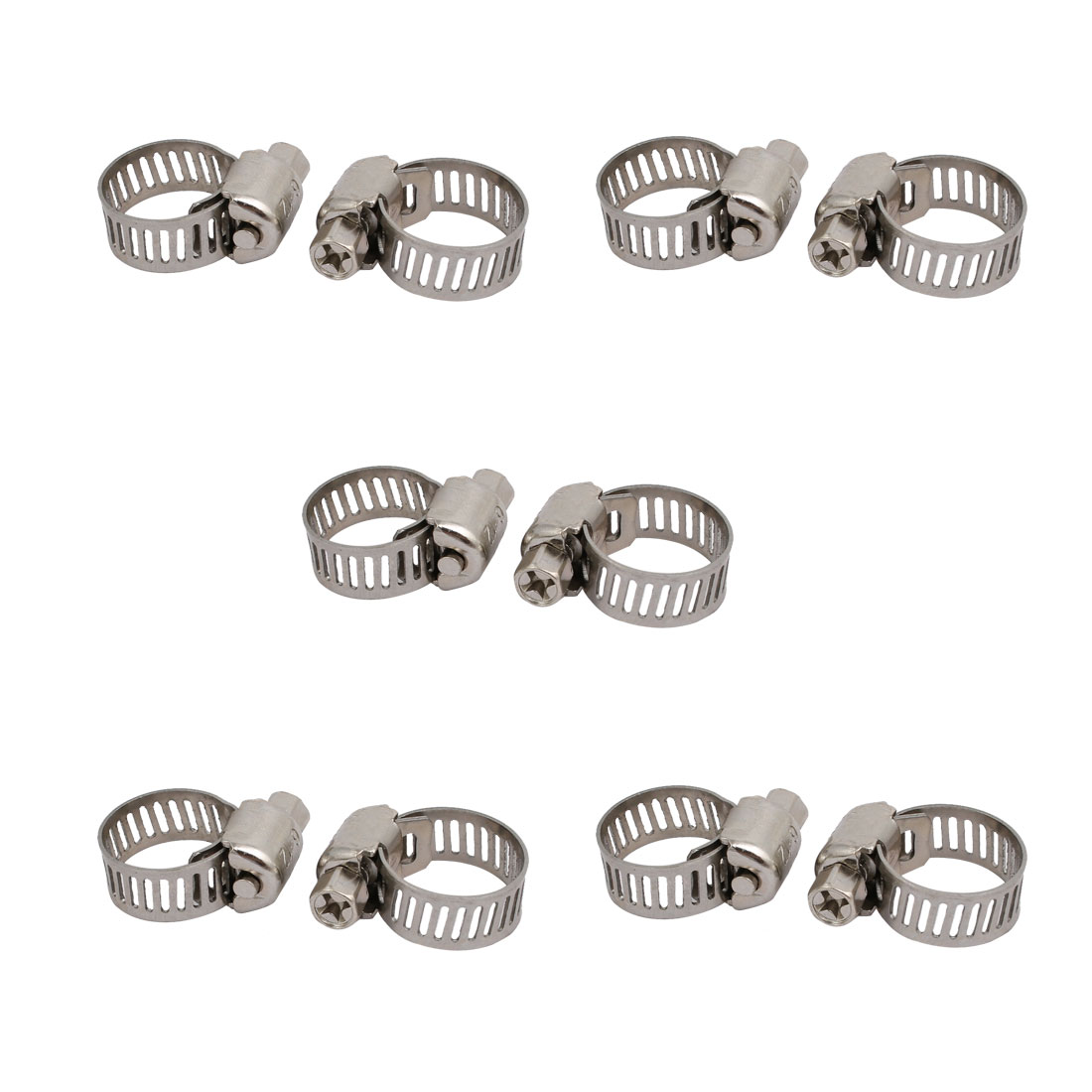 6-12mm Stainless Steel Adjustable Worm Gear Hose Clamps Silver Tone 10pcs