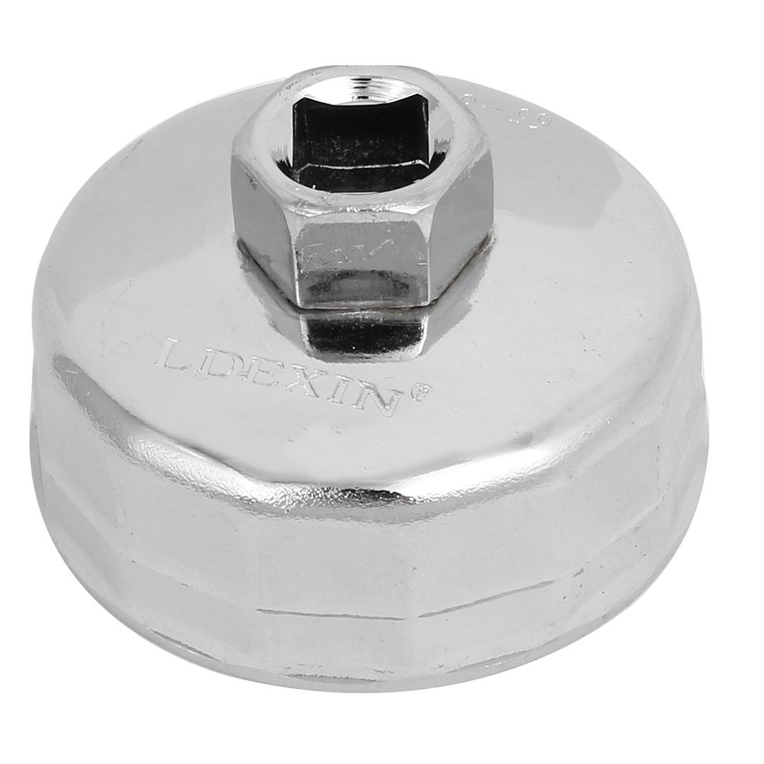 64mm Inner Dia 14P Nickel Alloy Car Oil Filter Cap Wrench Socket Remover Black