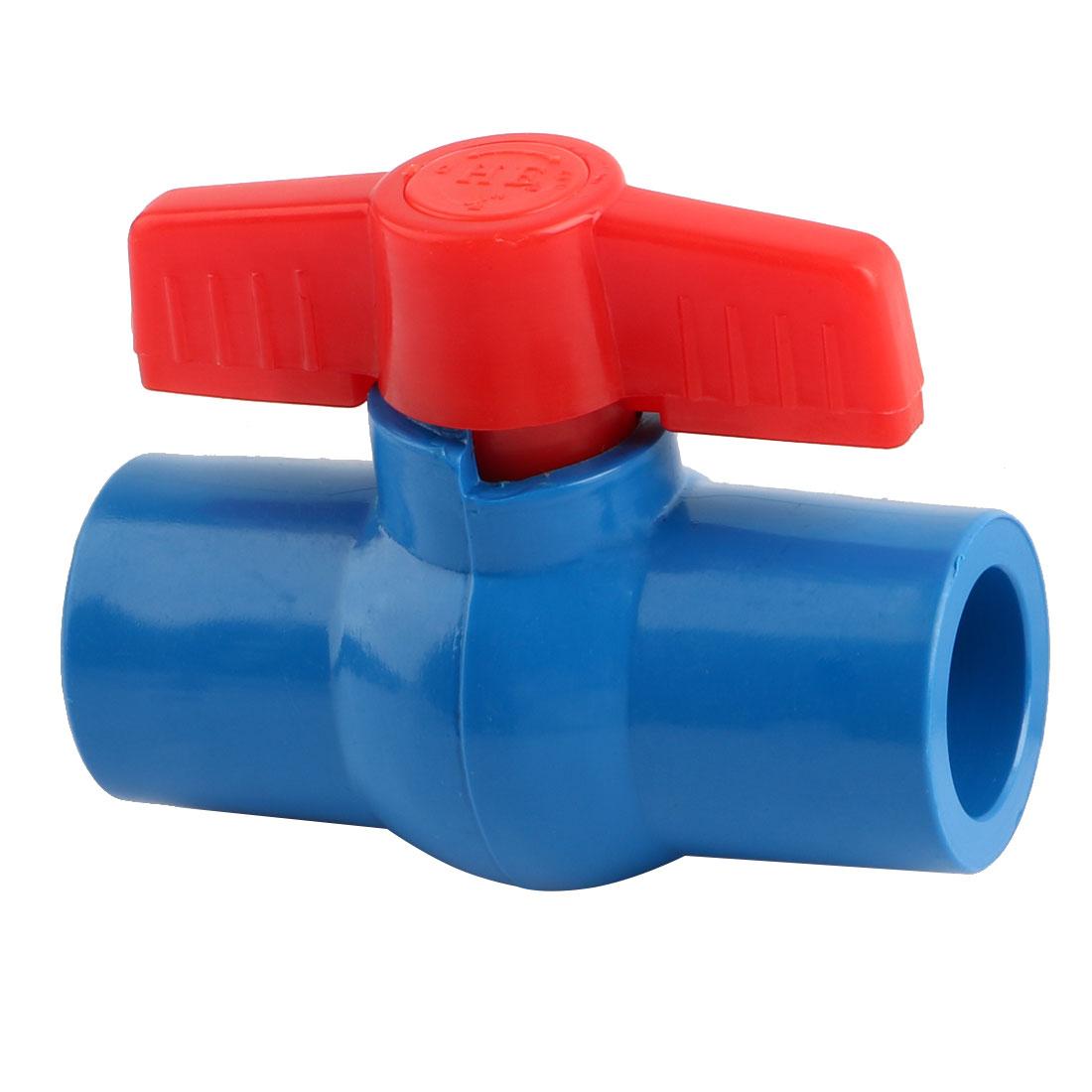 Water Supply Plastic Pipe Tap Faucet Ball Valve Blue Red Inner Diameter 20mm