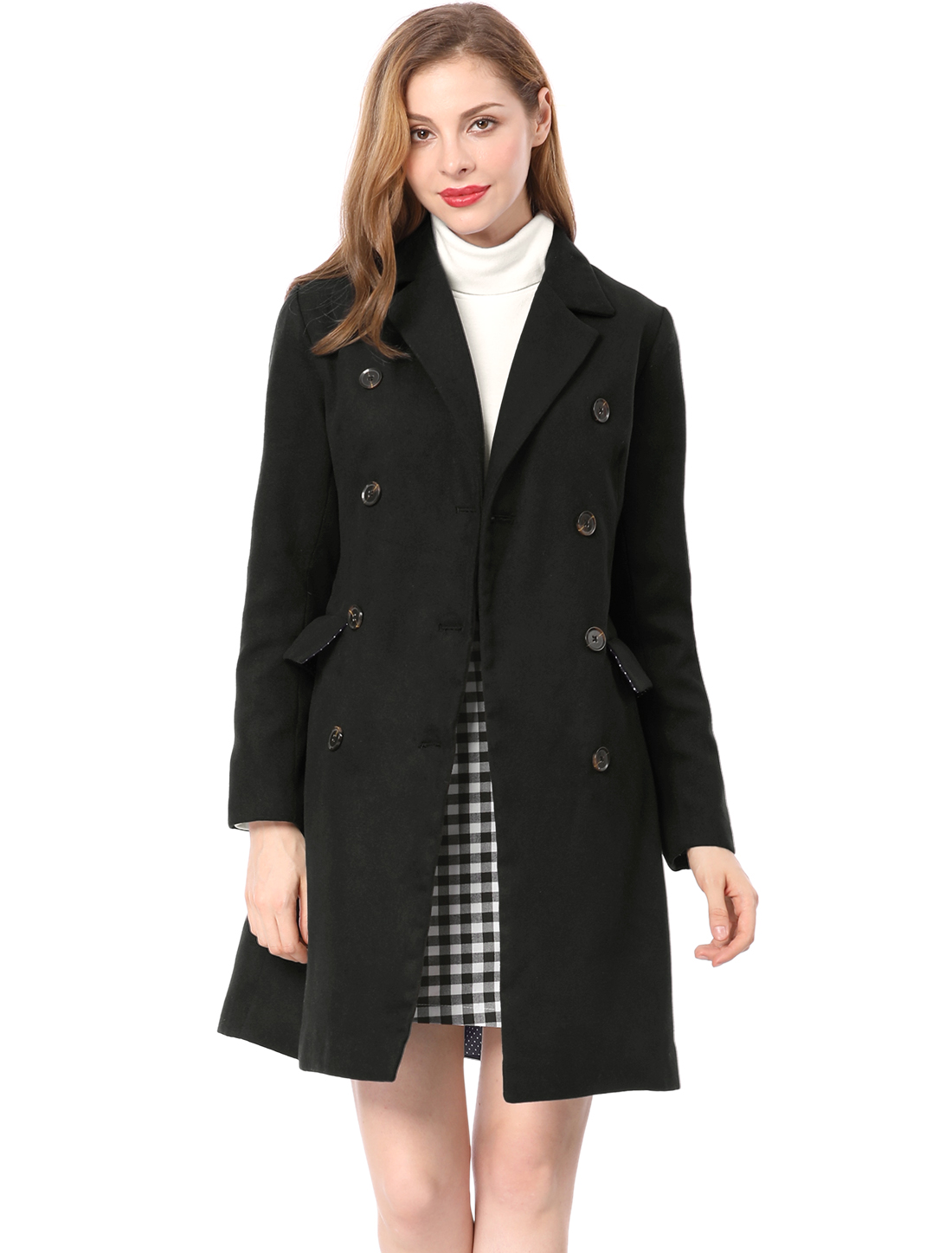 Women Notched Lapel Double Breasted Trench Coat Black L (US 14)