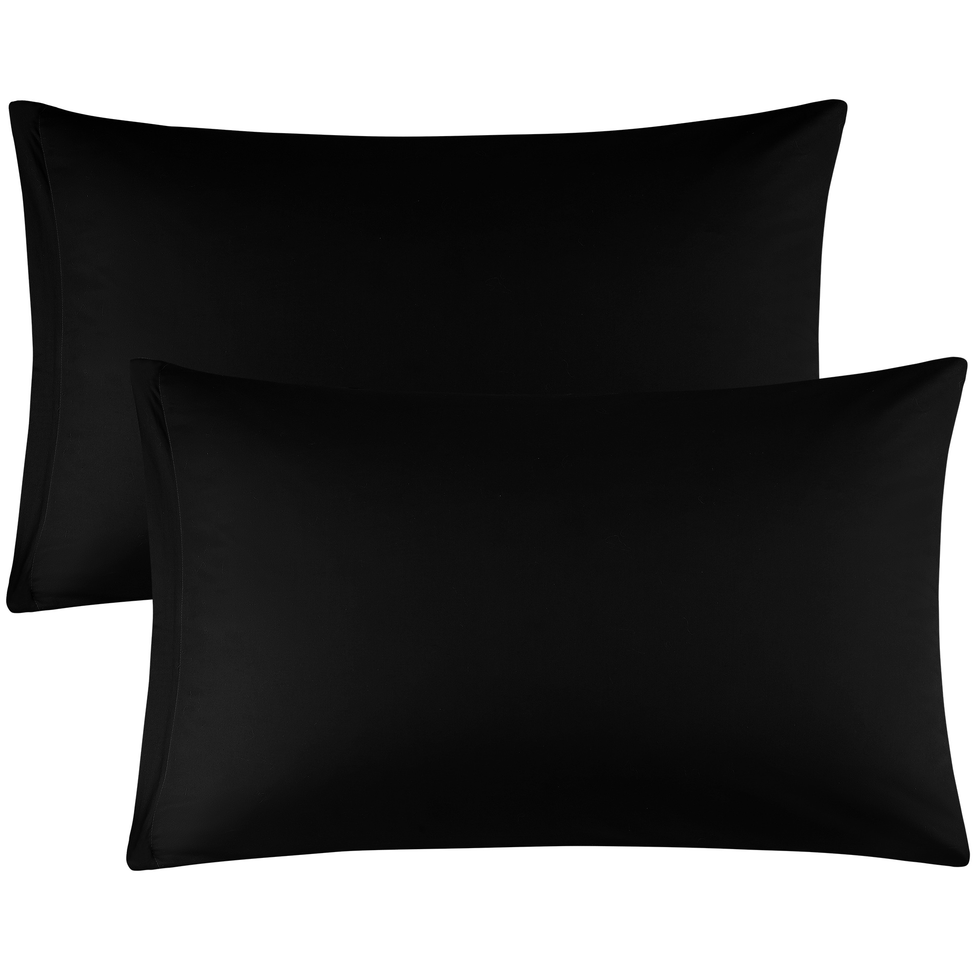 Zippered Cases Pillowcases Covers Egyptian Cotton 2-Pack (20 x 26 Inch, Black)