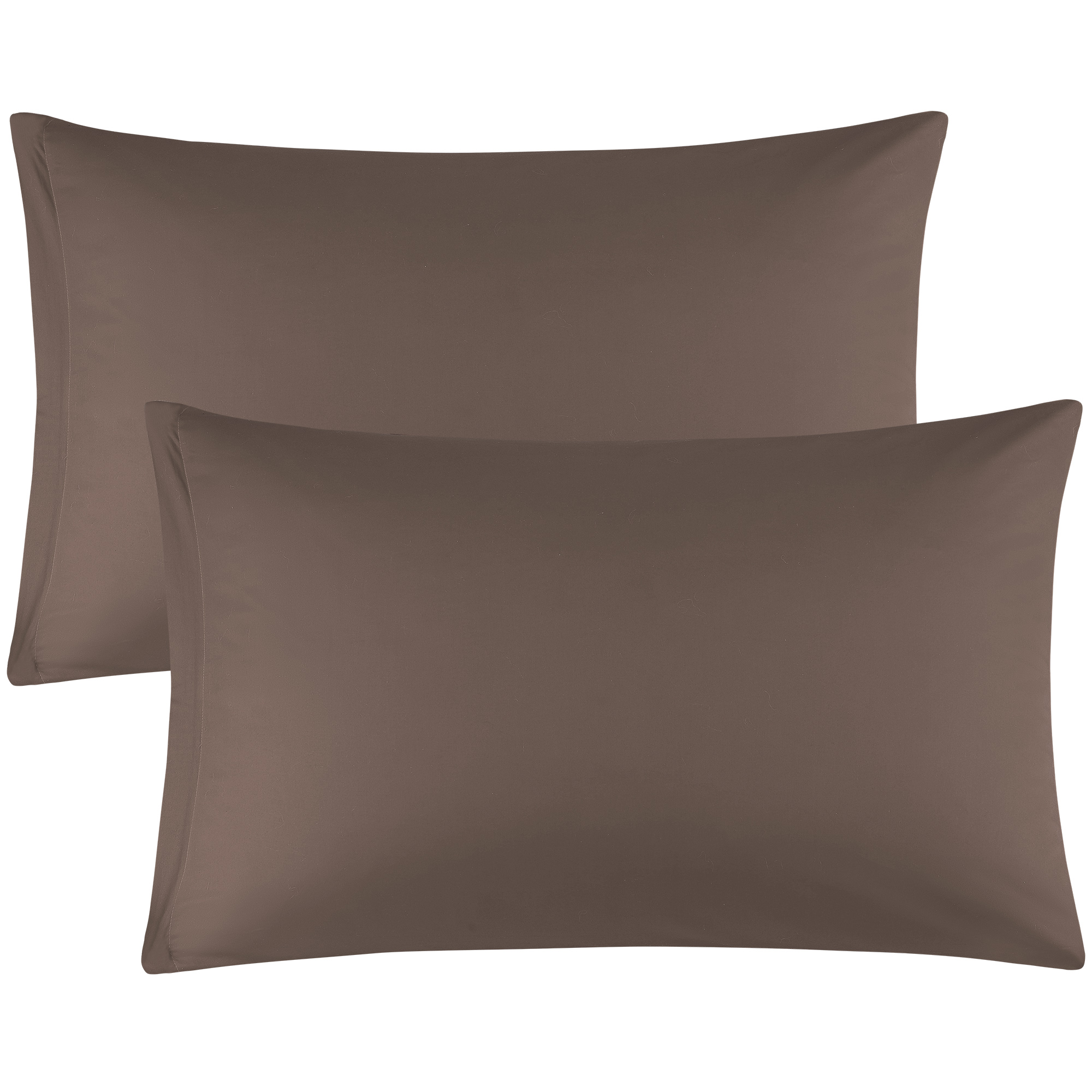 Zippered Pillowcases Covers Egyptian Cotton 2-Pack (20 x 26 Inch, Coffee Color)