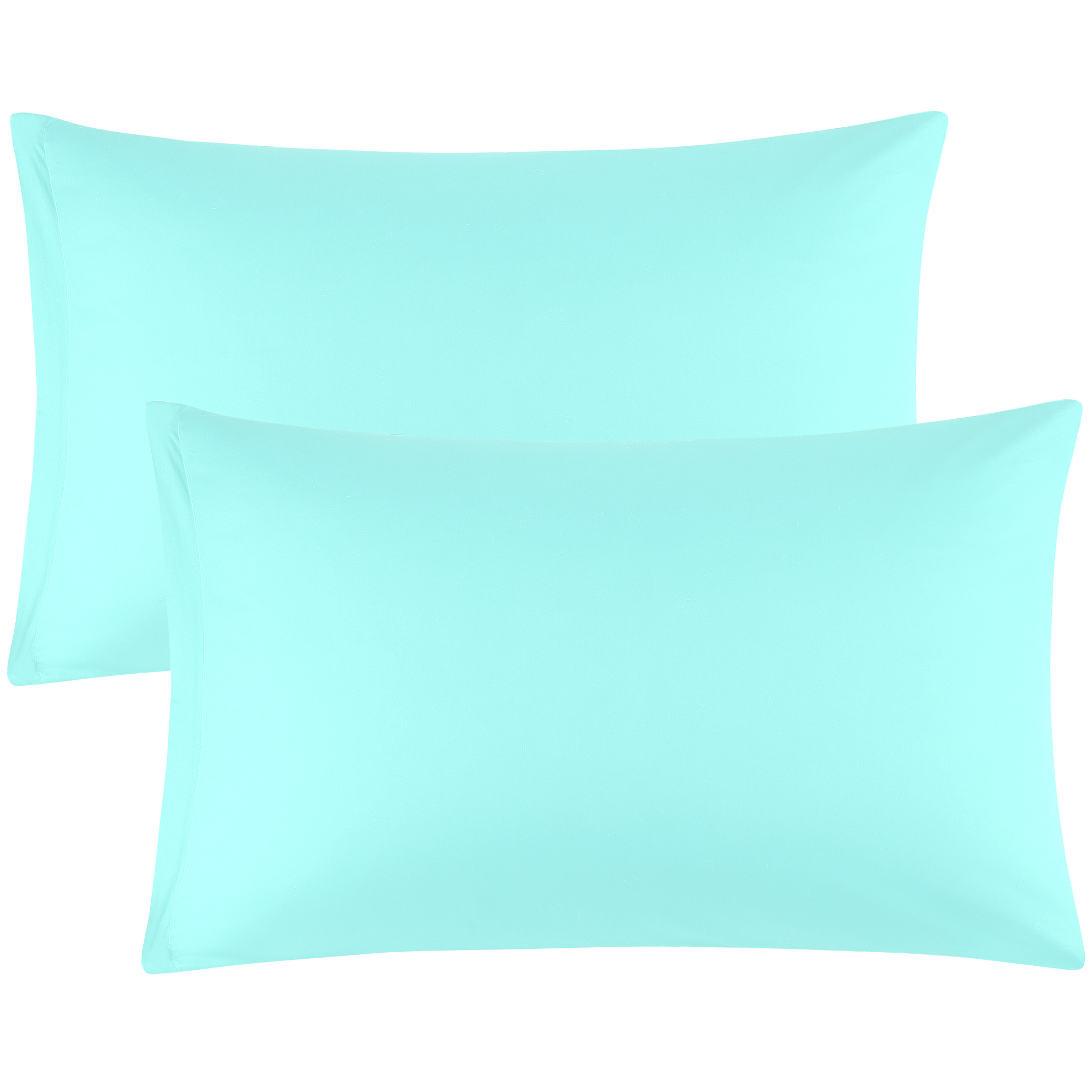 Zippered Pillow Cases Pillowcases Egyptian Cotton 2-Pack (20 x 26 Inch, Cyan)