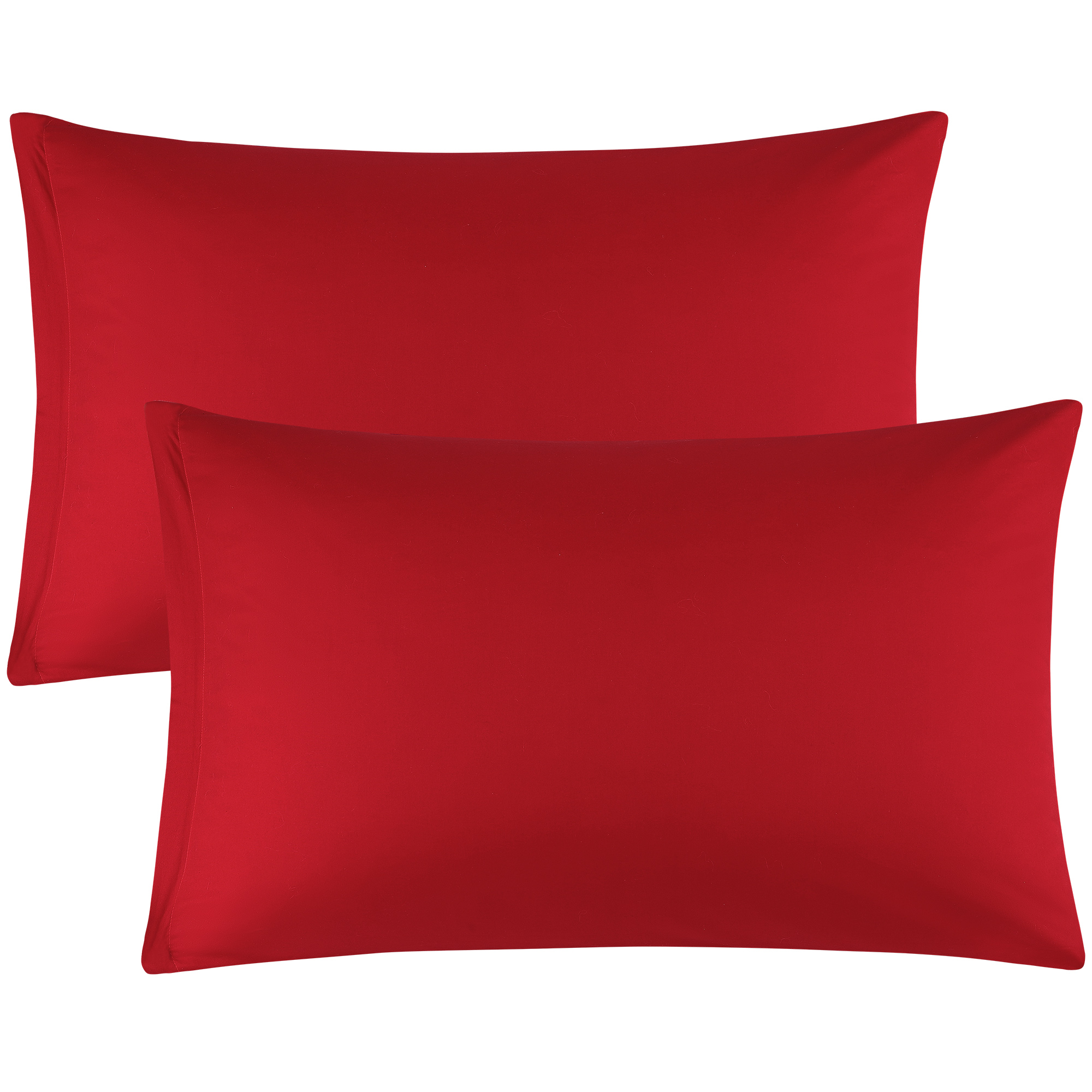 Zippered Cases Pillowcases Covers Egyptian Cotton 2-Pack (20 x 26 Inch, Red)