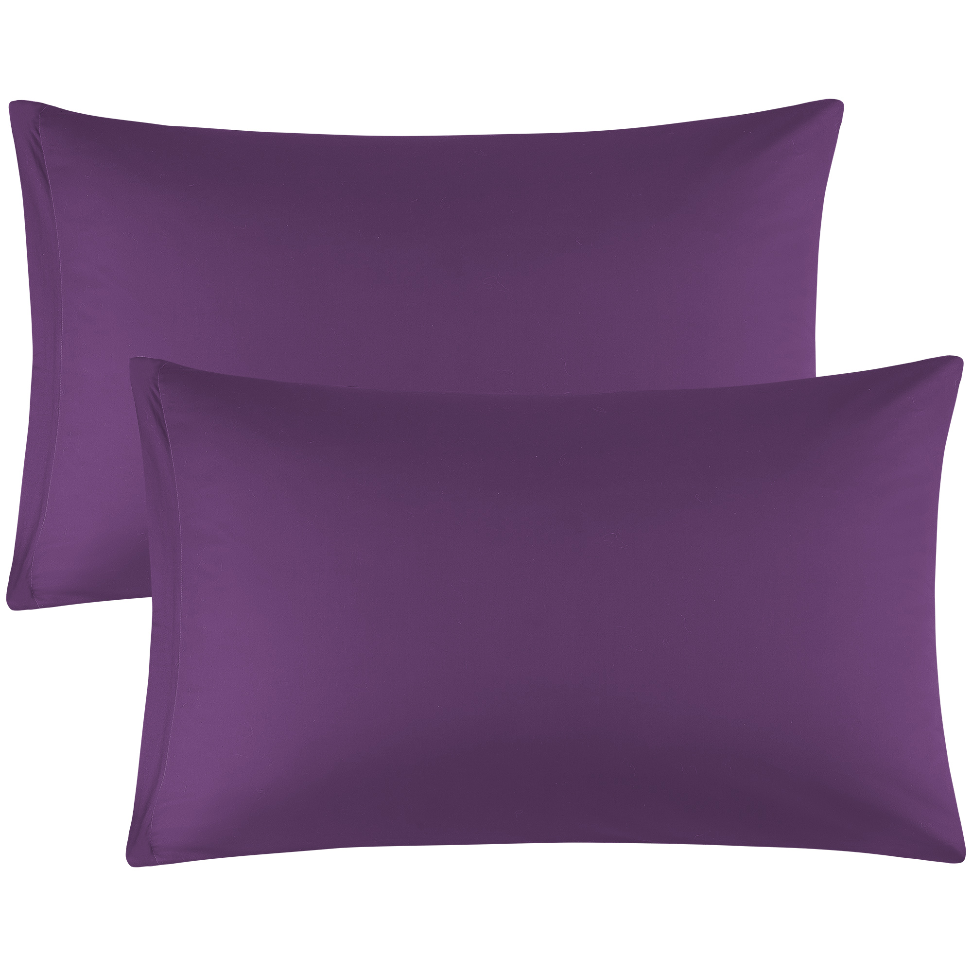 Zippered Pillowcases Covers Egyptian Cotton 2-Pack (20 x 26 Inch, Dark Purple)