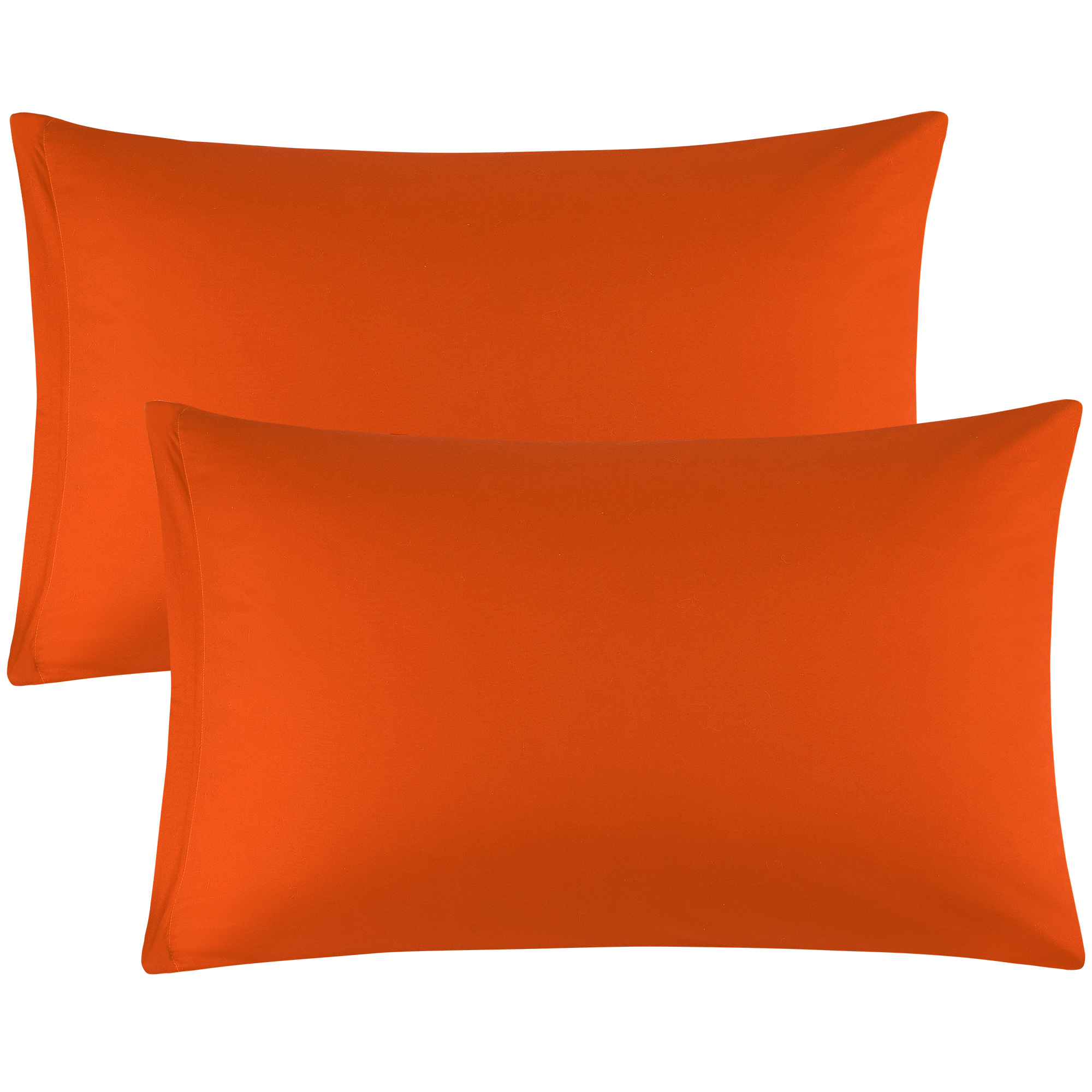 Egyptian Cotton Pillowcases Covers Zippered Cases Orange 20 x 30 Inch 2-Pack
