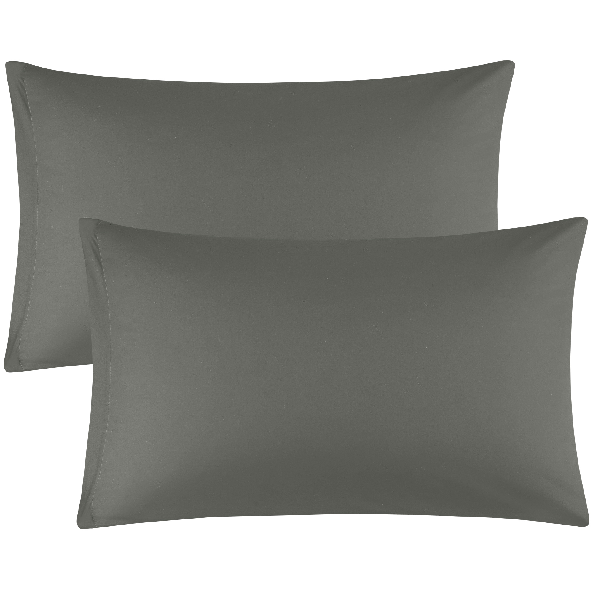 Zippered Pillowcases Covers Egyptian Cotton 2-Pack (20 x 30 Inch, Dark Gray)
