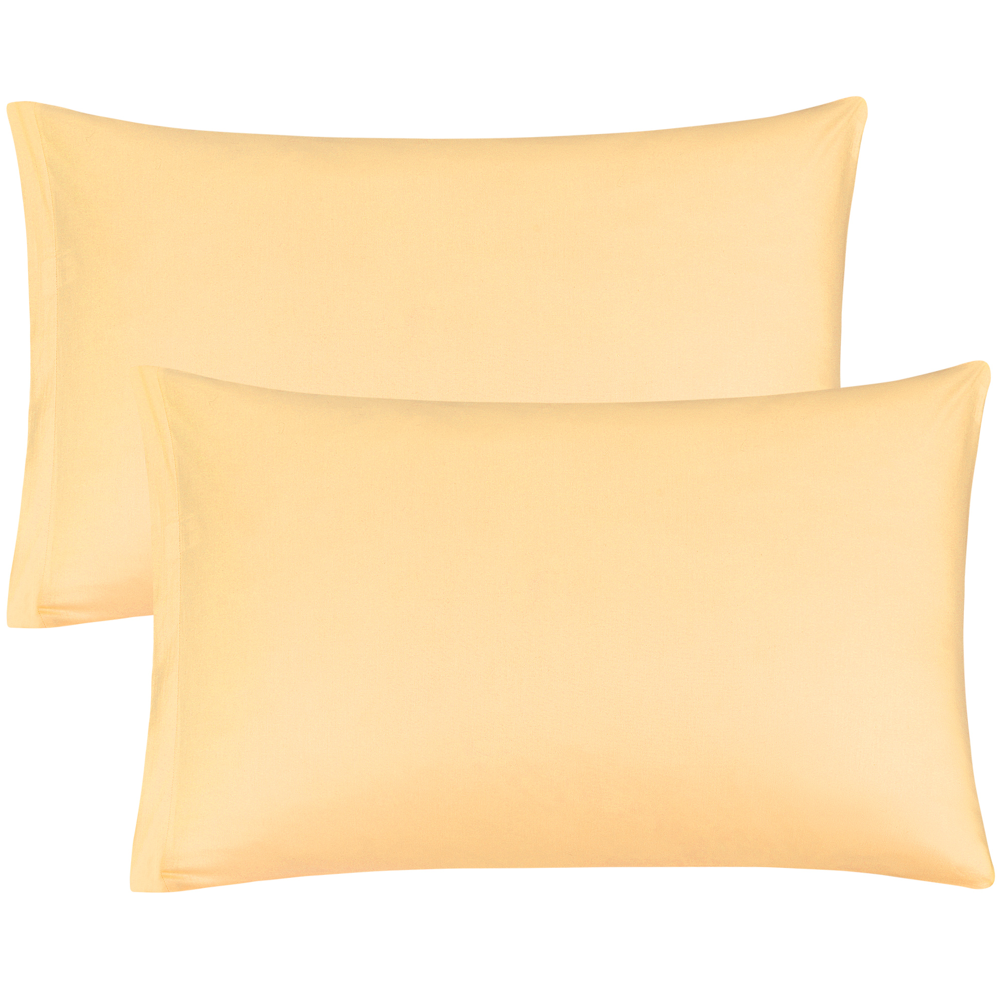 Zippered Pillow Cases Pillowcases Egyptian Cotton (20 x 30 Inch, Yellow) 2-Pack