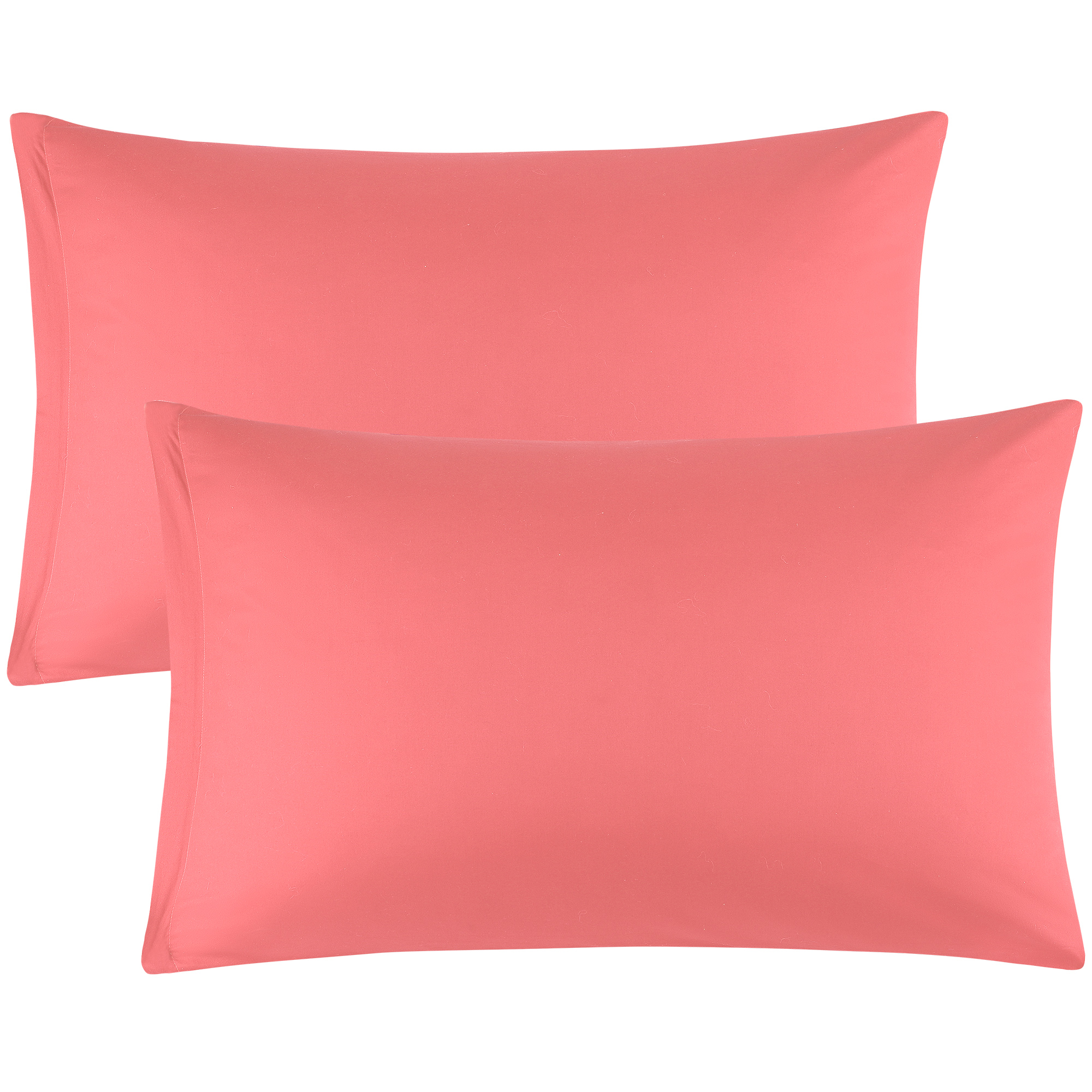 Zippered Pillowcases Covers Egyptian Cotton 2-Pack (20 x 30 Inch, Coral Pink)
