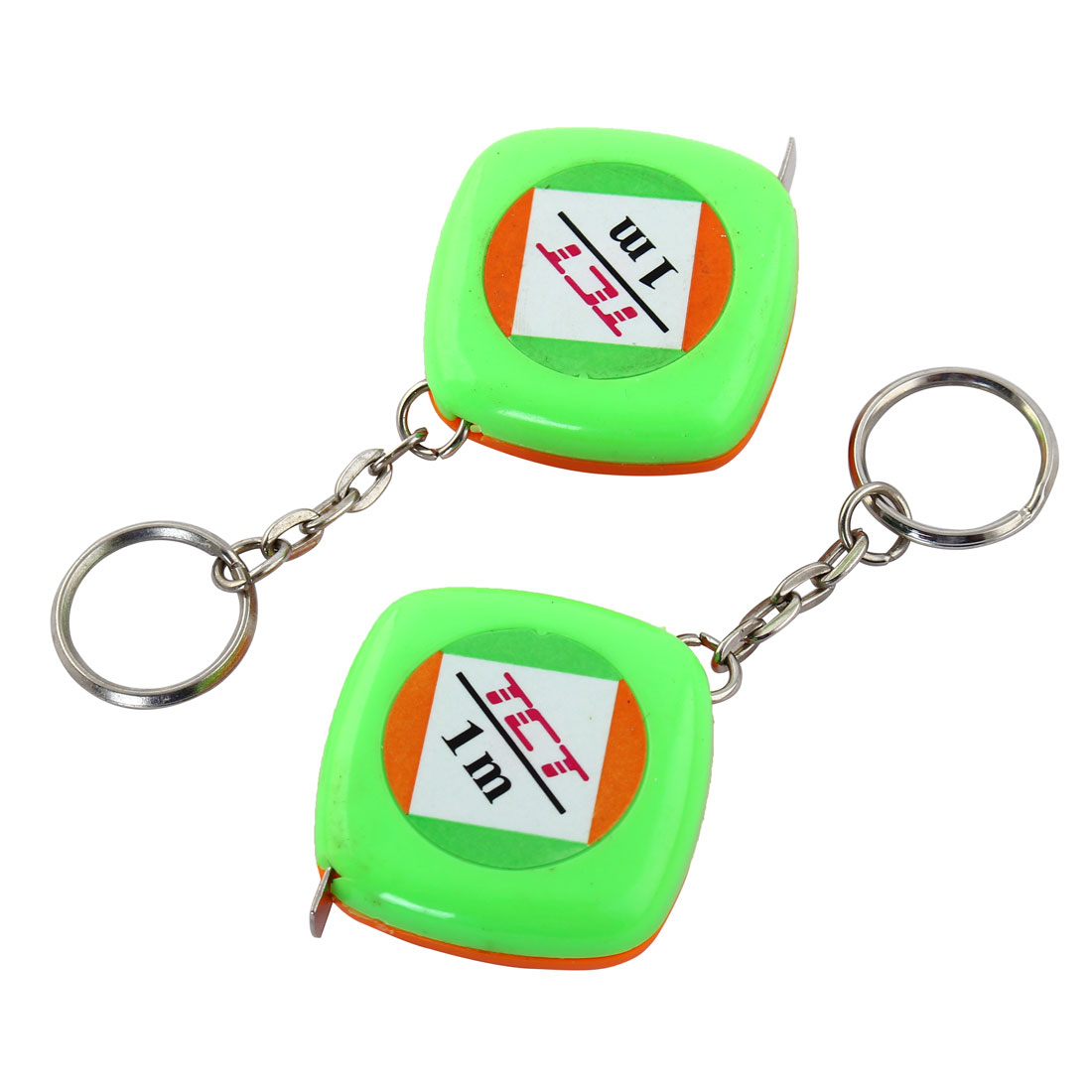 Measuring Tape Pocket Ruler Keyring Split Ring Green Orange 1m Length 2pcs