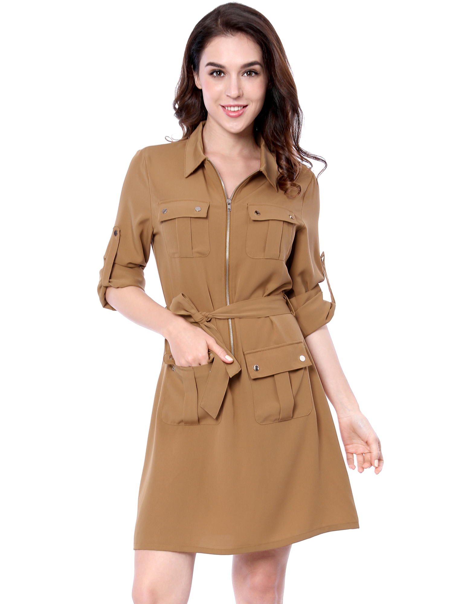 Allegra K Women Multi-Pocket Above Knee Belted Shirt Dress Beige L