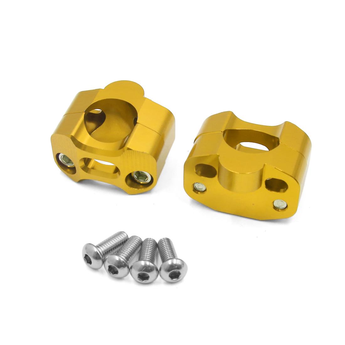 2Pcs Universal Gold Tone 28mm Handlebar Riser Clamp Adaptor for Motorcycle