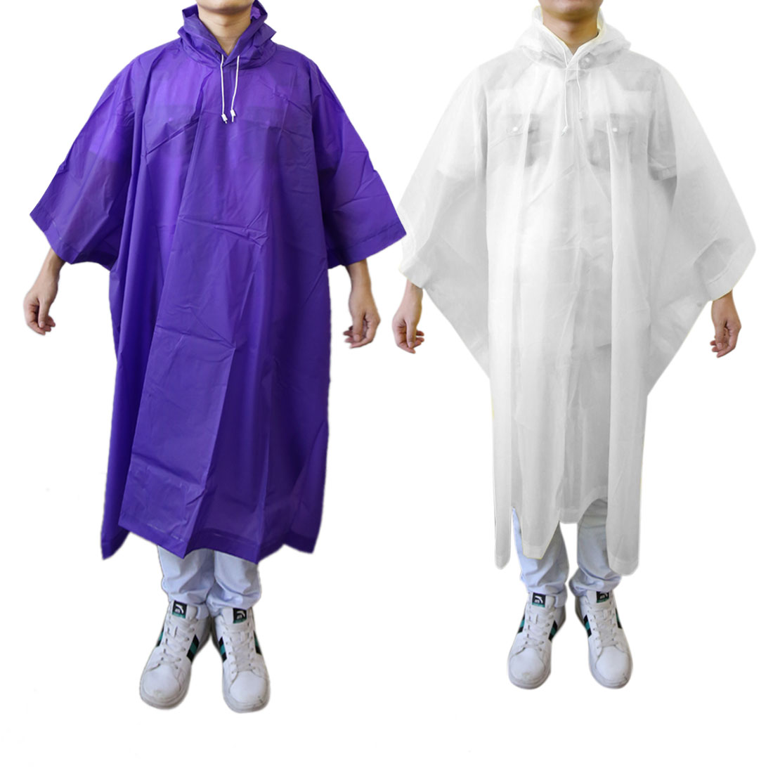 2Pcs White Purple Waterproof Poncho Cycling Bicycle Outdoor Raincoat Coat Cover