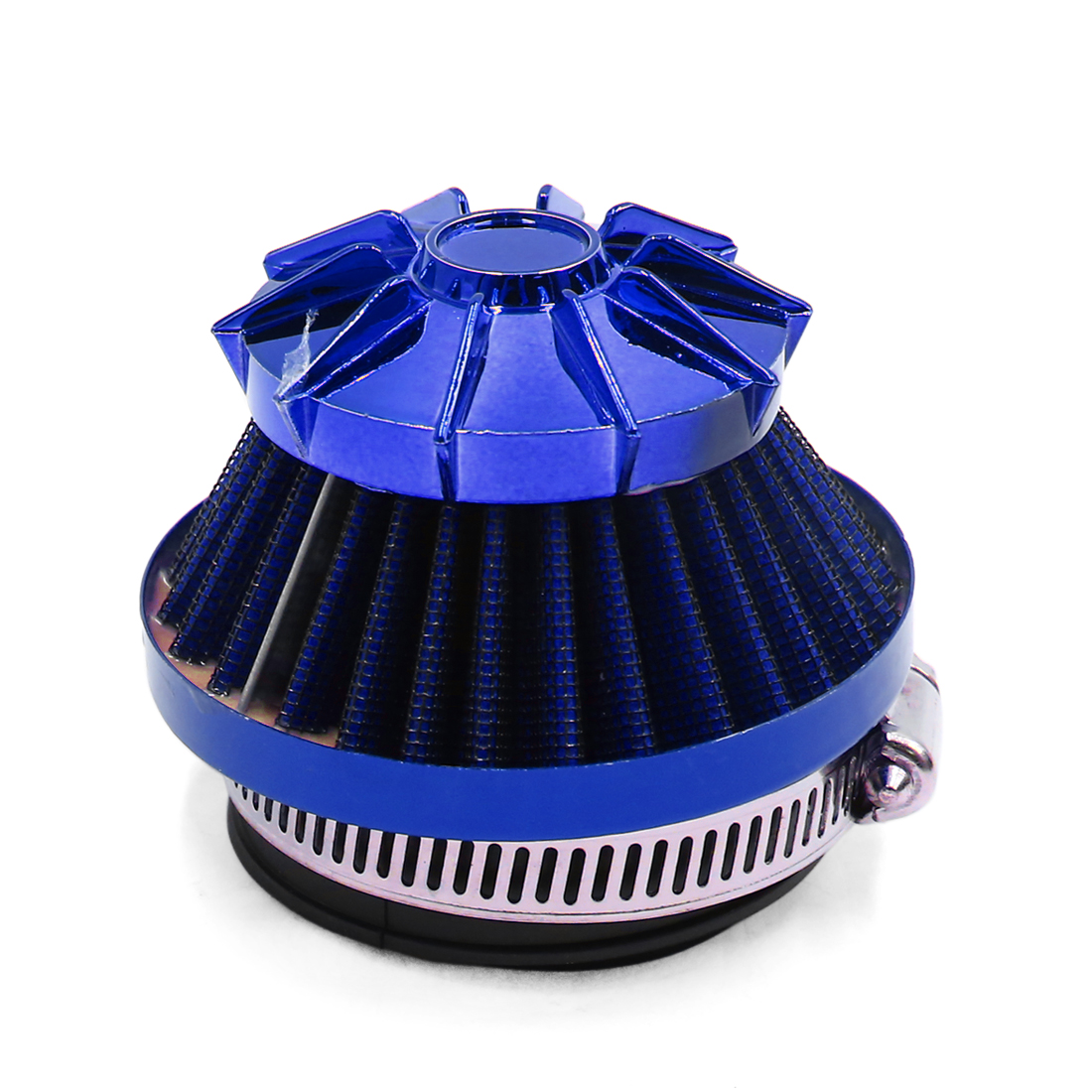 Blue 35mm 48mm Intake Straight Pipe Adjustable Clamp Air Filter for Motorcycle