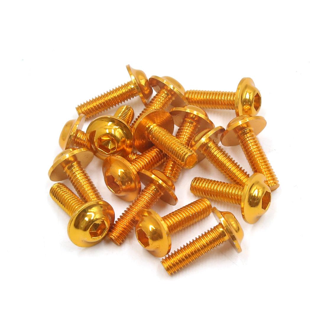 16Pcs Gold Tone Metal 6mm Thread Dia Motorcycle Hexagon Bolts Screws