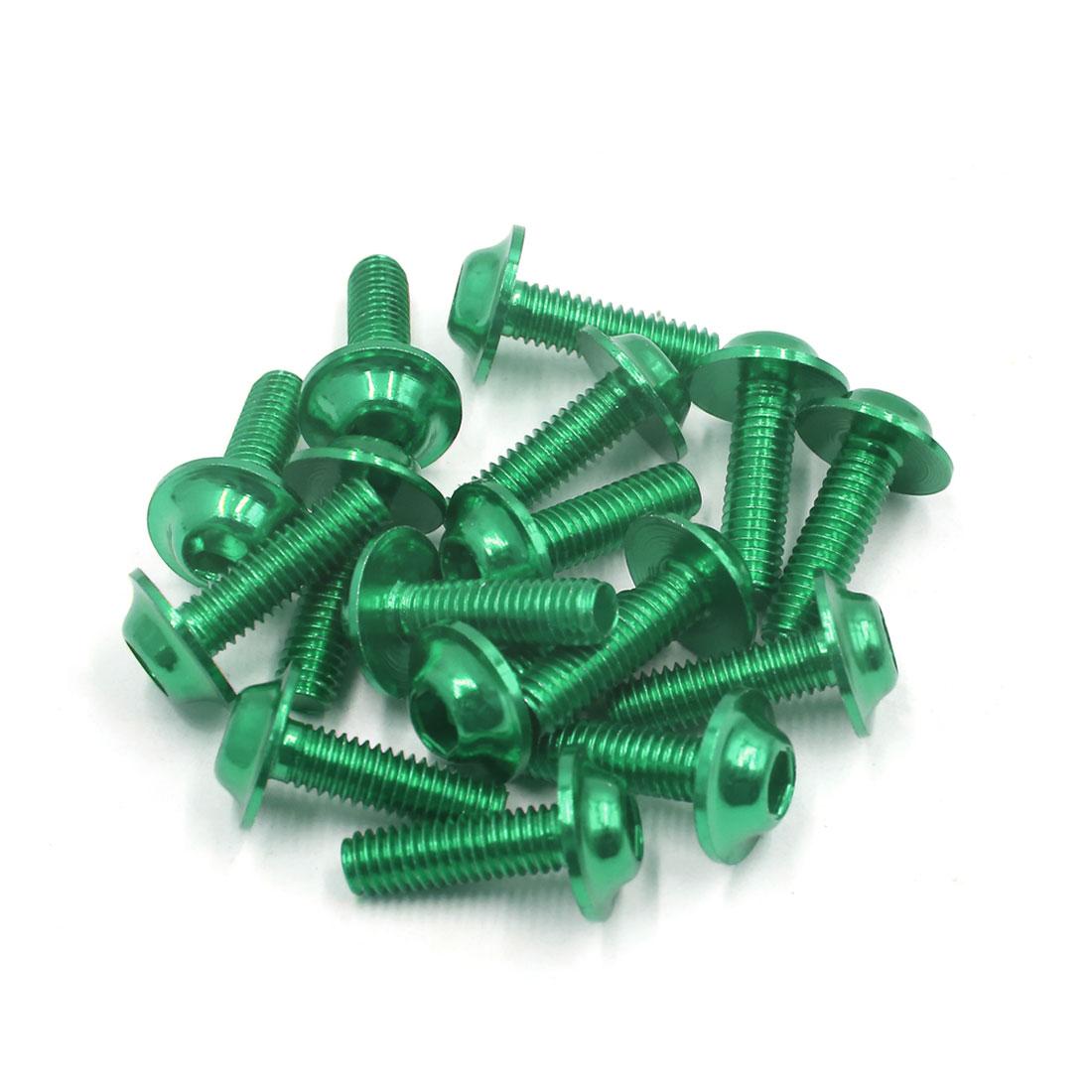 16Pcs Green Metal 6mm Thread Dia Motorcycle Hexagon Bolts Screws