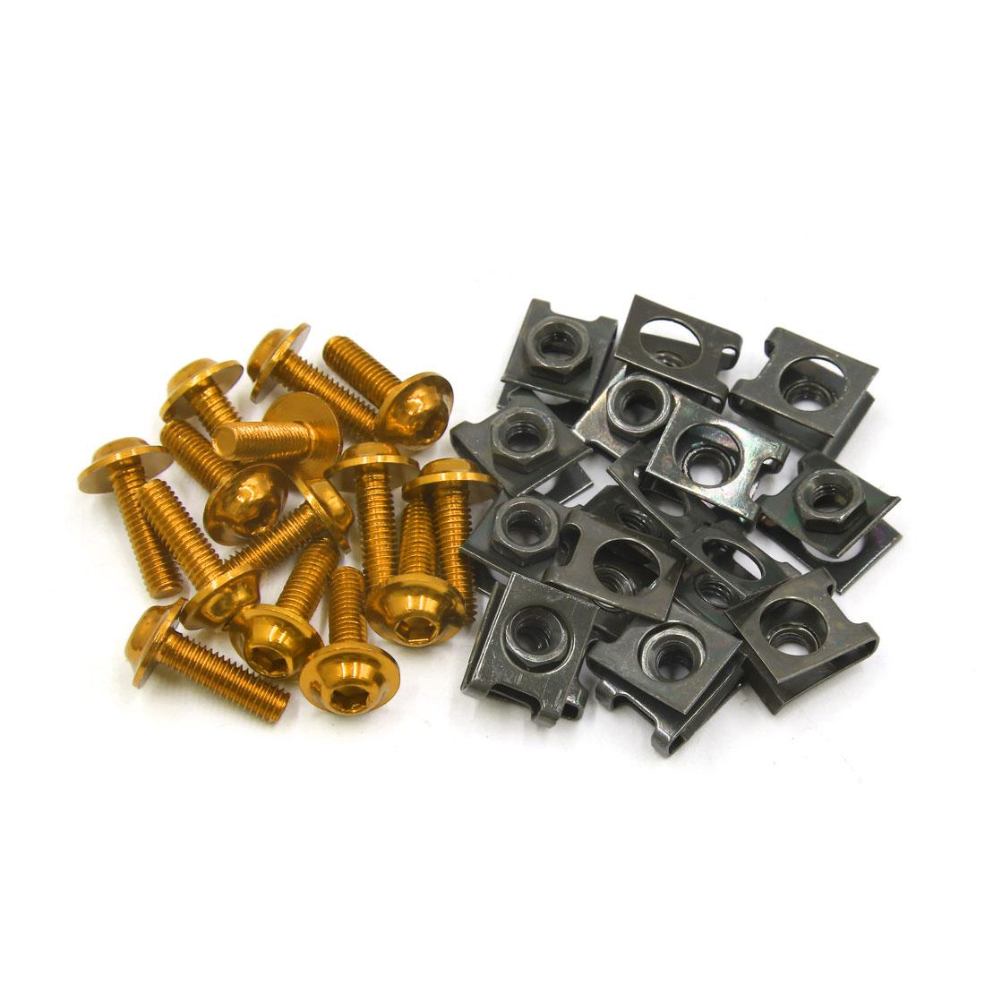 16Pcs Gold Tone Metal Motorcycle 6mm Thread Dia Hexagon Bolts Screws Rivet Clip